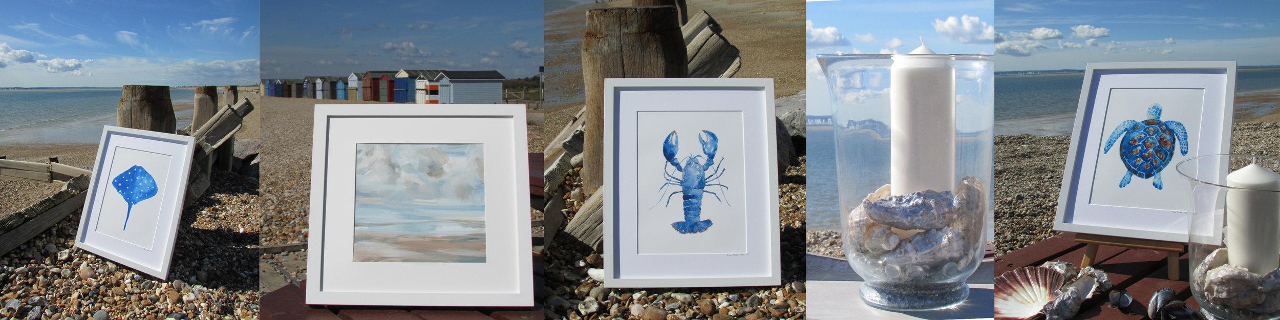 Stingray, Acrylic Beach Art, Blue Lobster, Hurricane, Sea Turtle Watercolour Prints