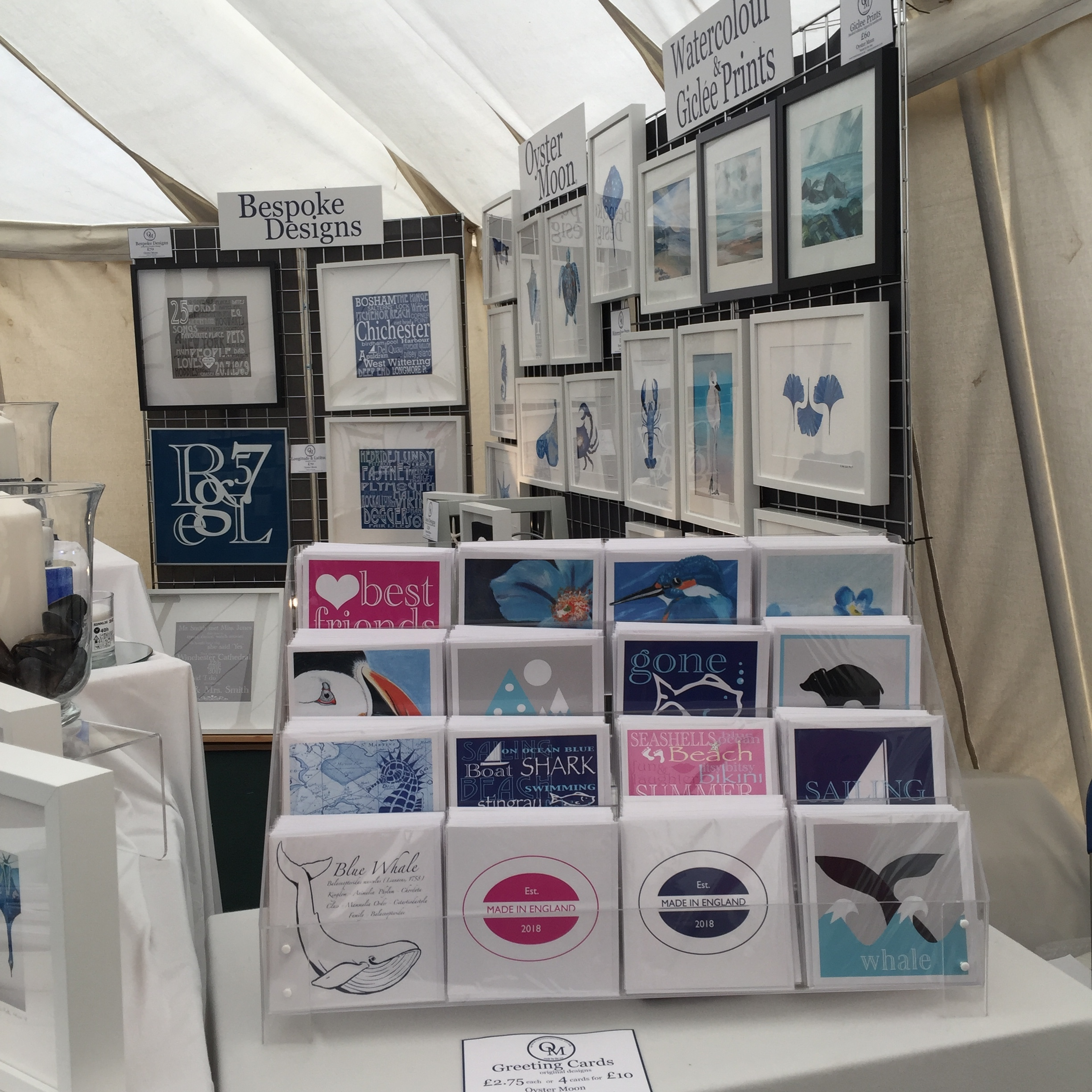 Bespoke designs, coastal art, Giclee prints, greeting cards and lanterns.