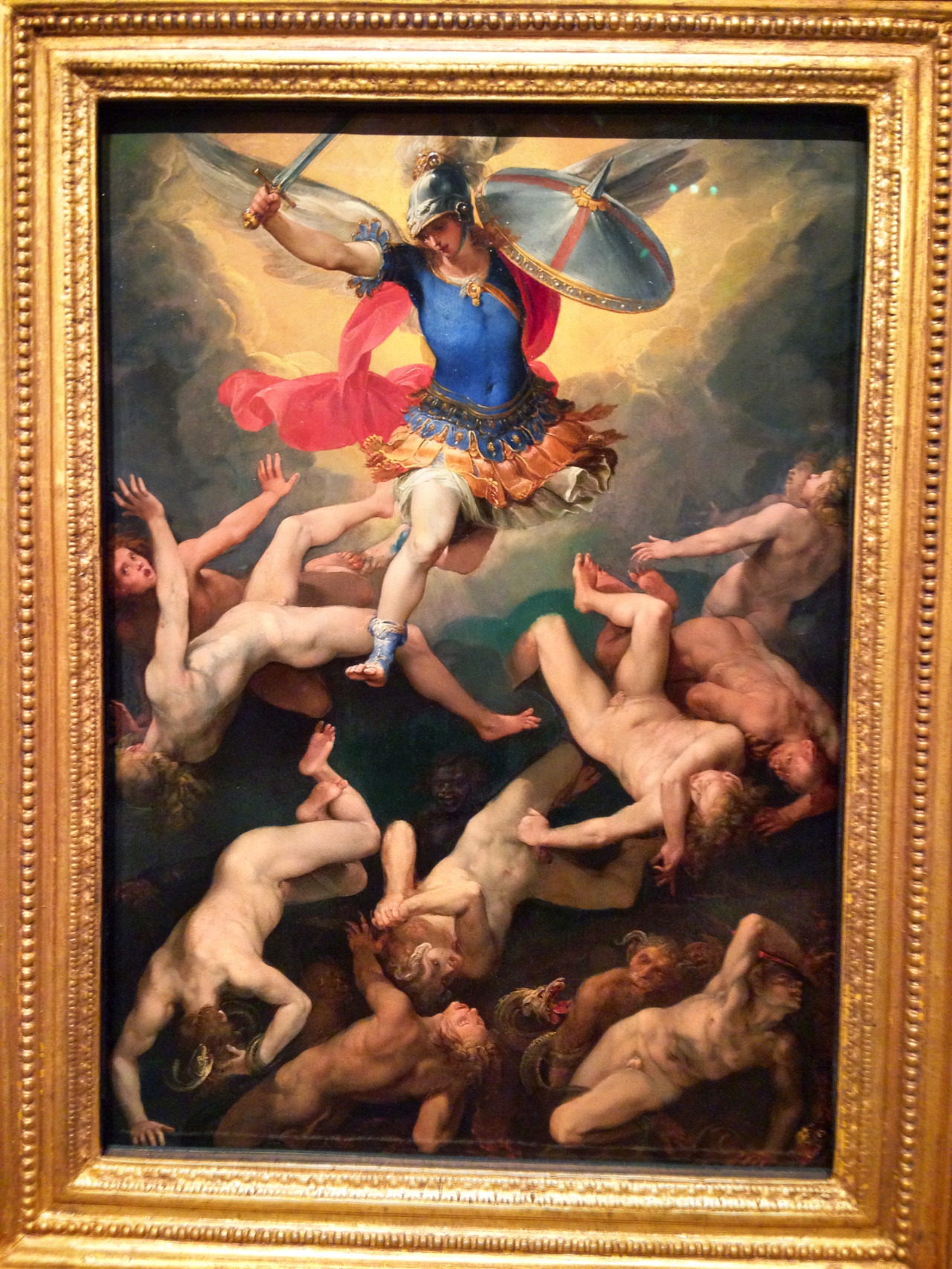 """Nice exhibit of Italian paintings at Milwaukee Art Museum """"Of Heaven and Earth""""; by far my favorite is this one done circa 1592 by Giuseppe Cesari, called 'Archangel Michael and the Rebel Angels'. Interestingly, a young Caravaggio, when he arrived in Rome, trained in Cesari's studio."""