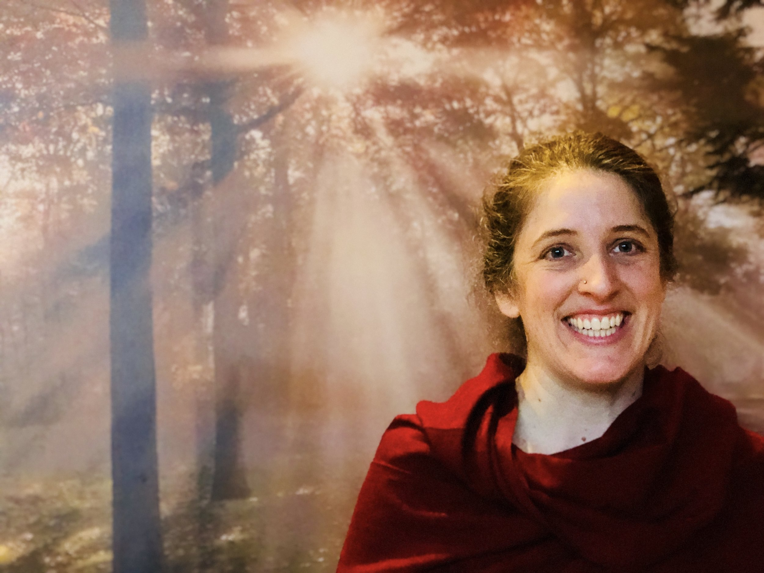 """In 2010,  Sarah Bish  became a disciple of  Chandra Om . Sarah says about what she has learned: """"I am changing, growing, and learning how to Love and Be Loved… to Be Receptive to Love and Grace."""" Sarah completed the 200 hour & 500 hour yoga teacher trainings (among others) at the NC School of Yoga, mostly under the instruction of her spiritual sisters, senior disciples of her Guru, Padma Om, and Lakshmi Om (who is now the Director of her spiritual home, the Shanti Niketan Ashram in Cary, NC).The Eco-Institute is blessed to welcome Sarah as our newest Staff Member, and we've been enjoying practicing lighthearted, reverent, powerful yoga with her guidance! To learn more about Sarah Waggoner Bish,  check out her website ."""