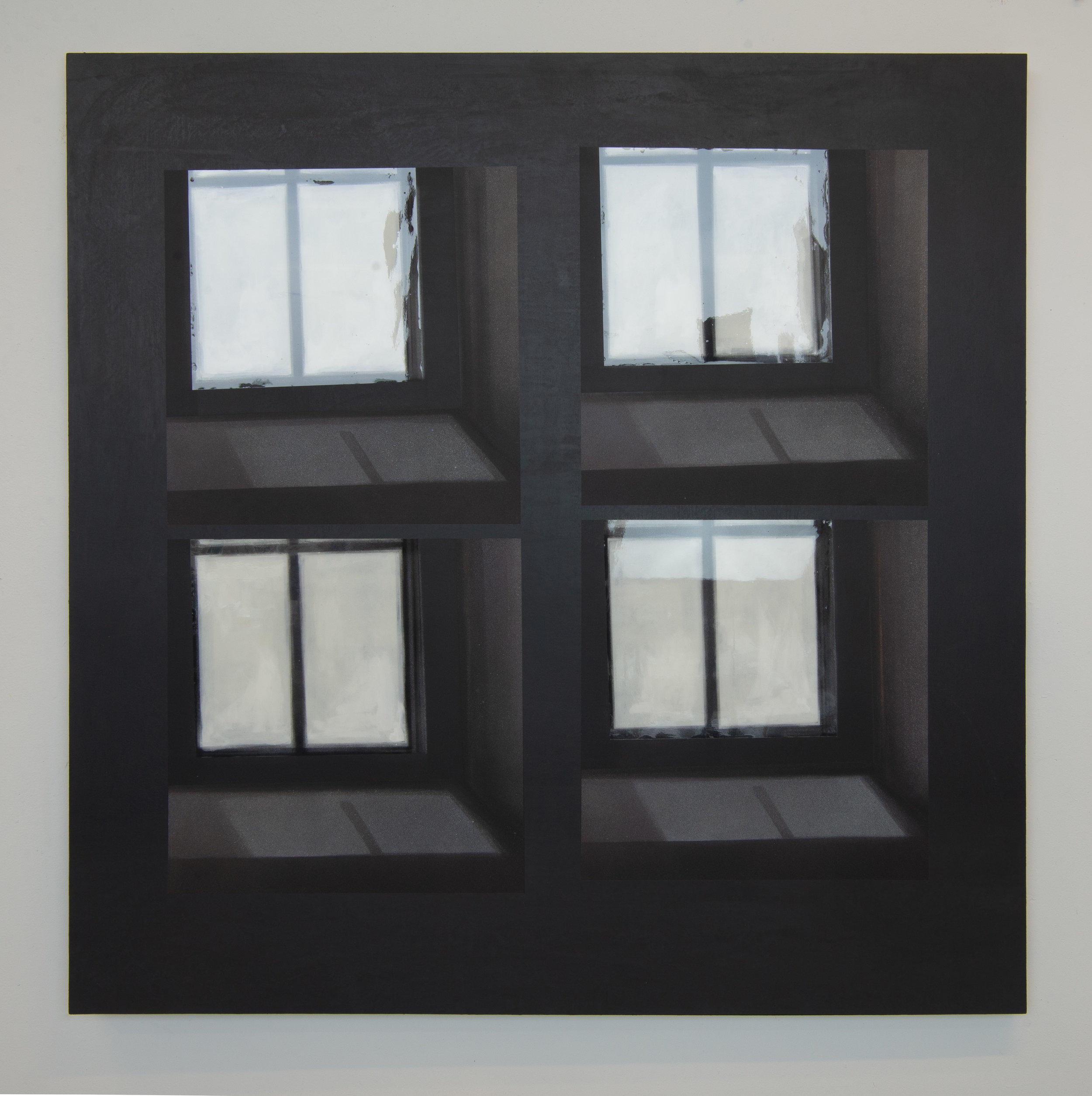 Window(s)  2018  spray paint and resin on wood panel  47.5in. x 47.5in. x 1.75in.
