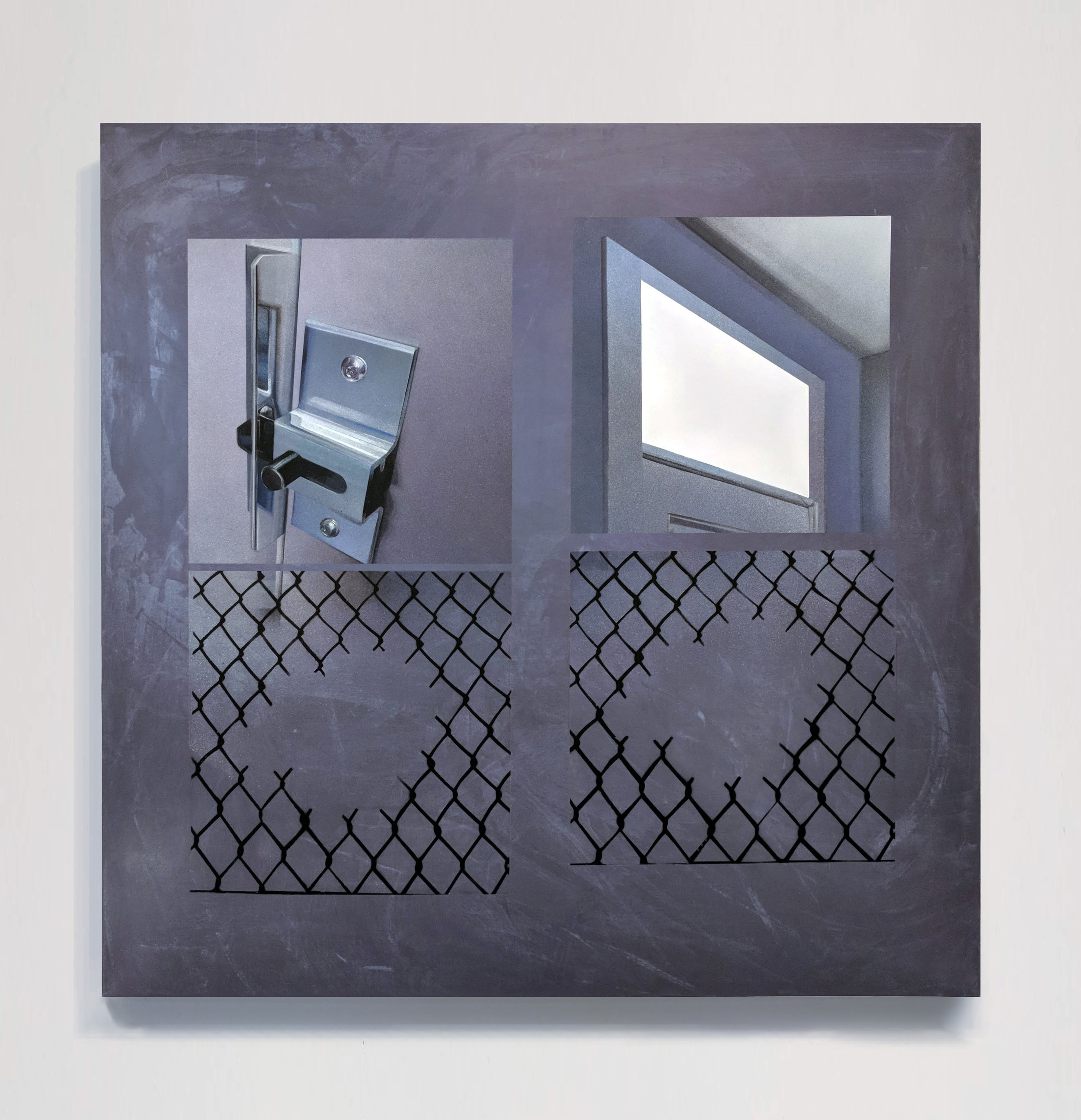 Lock, window, and fences  2018  spray paint and marker on wood panel  47.5in. x 47.5in. x 2in.