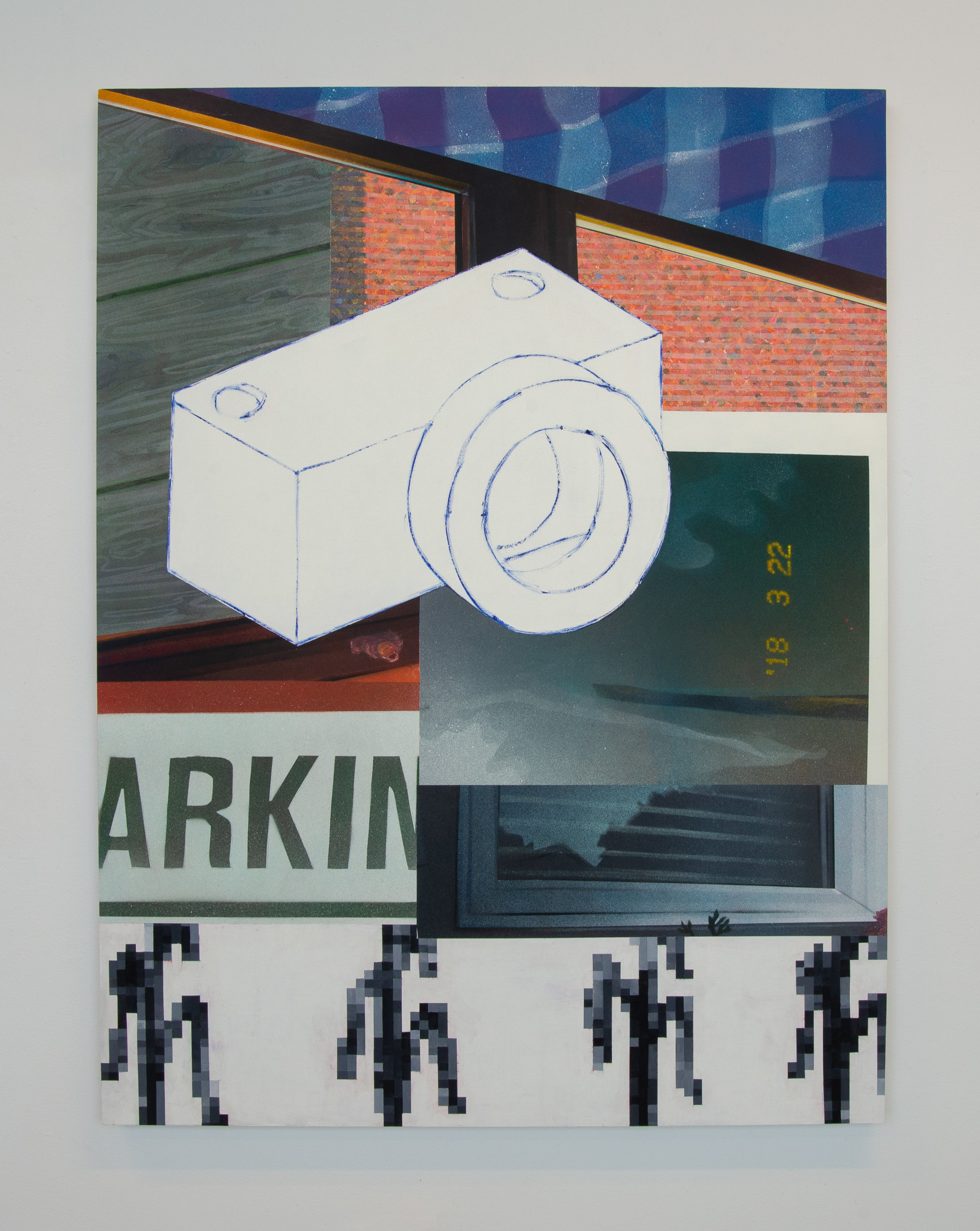 ARKIN  2018  spray paint and marker on wood panel  35.5in. x 47.5in. x 2in.