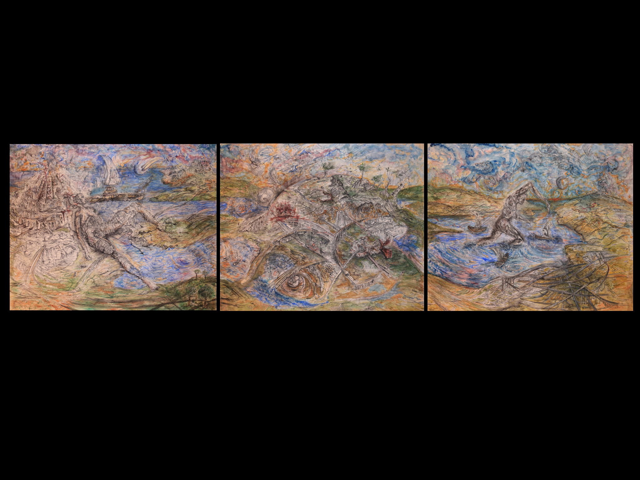 "Three Generations lost in the same Dream (Triptych  126x102""))"