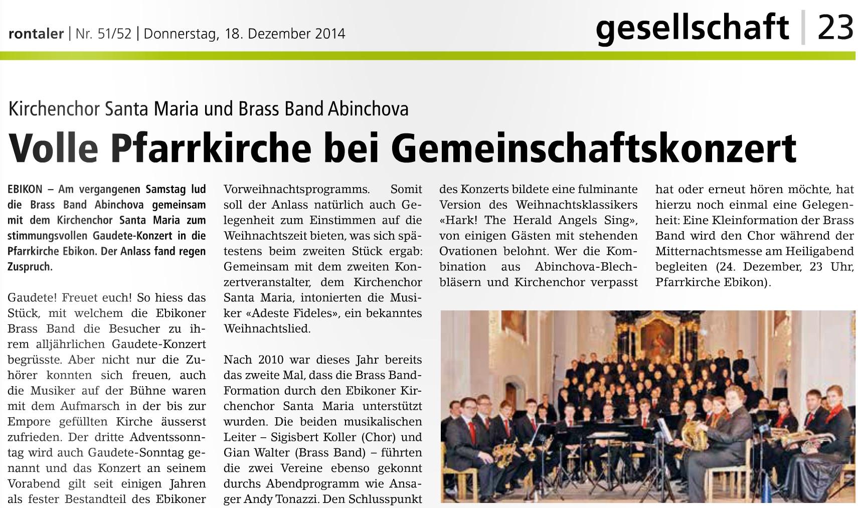 Gaudete-Konzert 2014