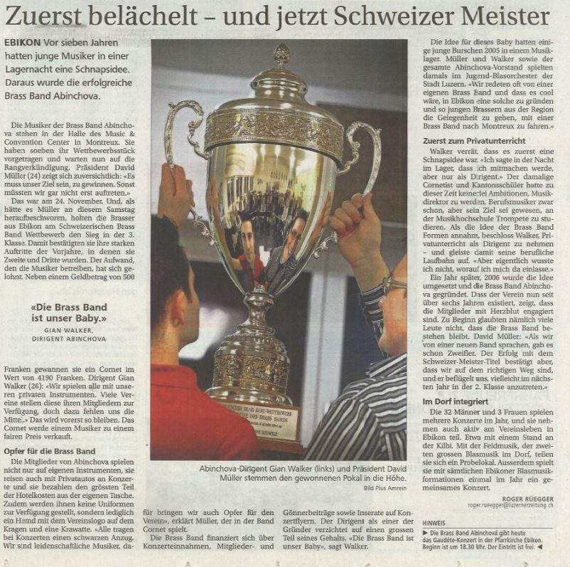 Schweizerischer Brass Band Wettbewerb 2012