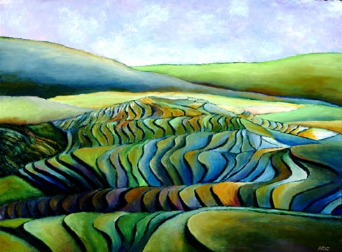 - Visiting Vietnam for the first time in 2003 was an incredible journey and opportunity for me. This painting was inspired by my trip to northern Vietnam, home to the Hmong ethnic minority community, where the immense rice terraces are endless.