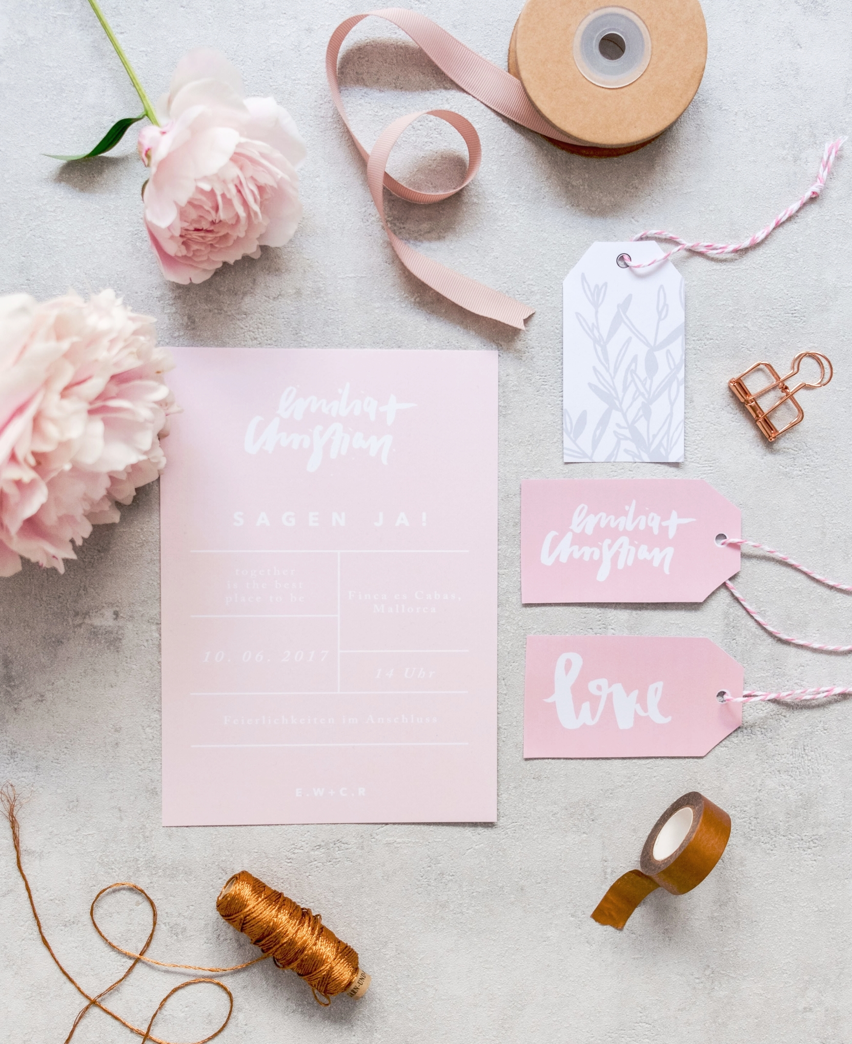 All about Blush - Modernes Brushlettering trifft auf zartes Blush. Clean, Modern, Industriell.