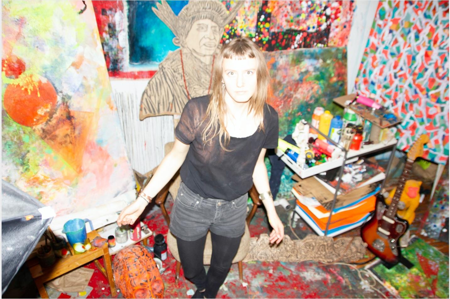 in her shared studio in Berlin