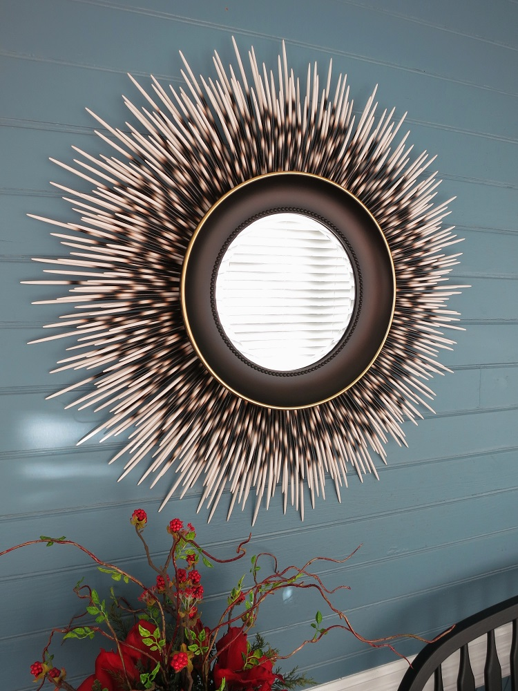 "31"" ivory-tip porcupine quill mirror with espresso brown frame and gold accent border"