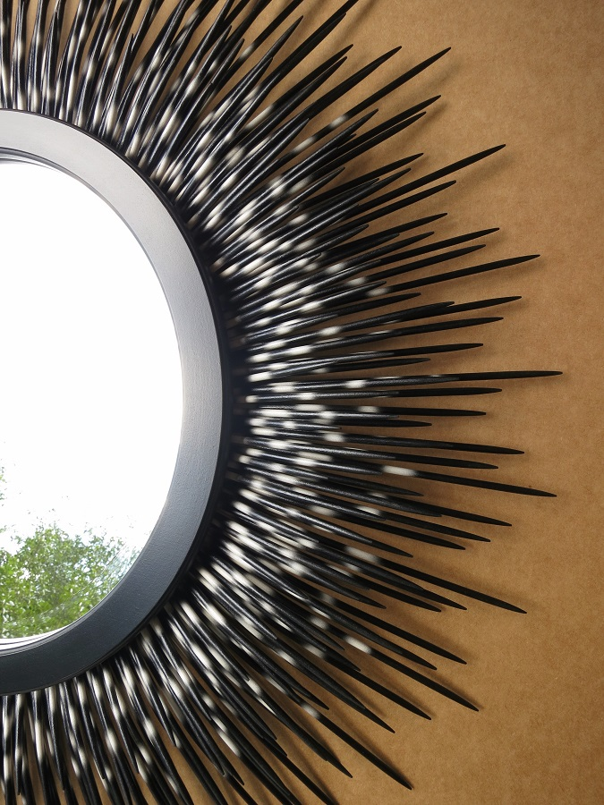 "32"" black-tip porcupine quill mirror with minimal style frame (detail)"