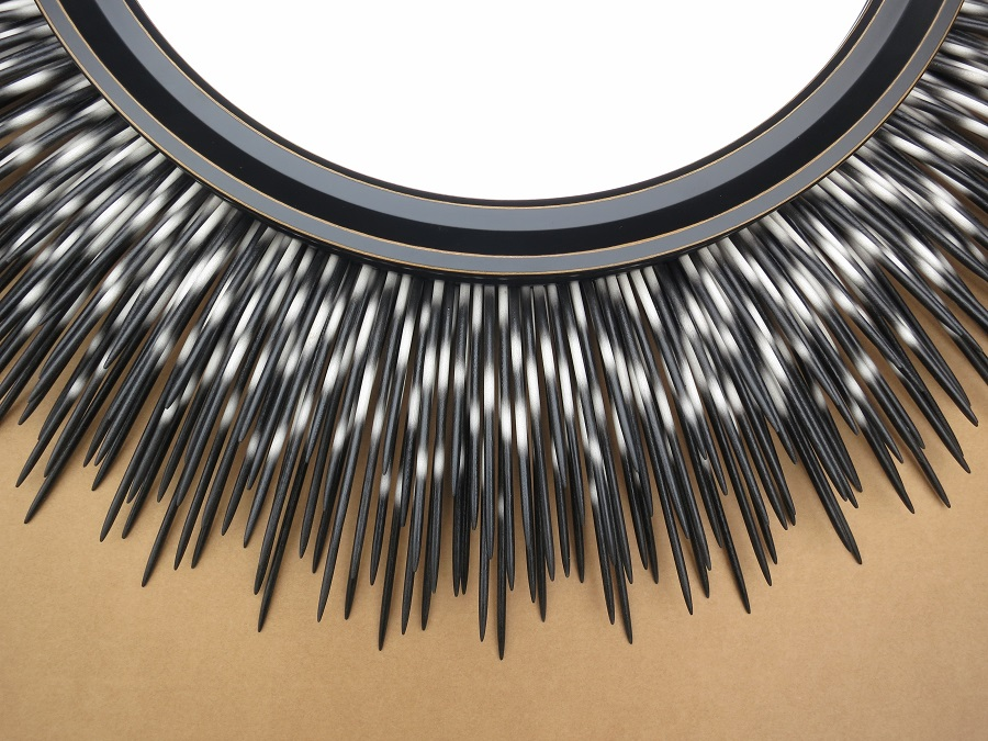 "36"" black-tip porcupine quill mirror with custom frame (detail)"