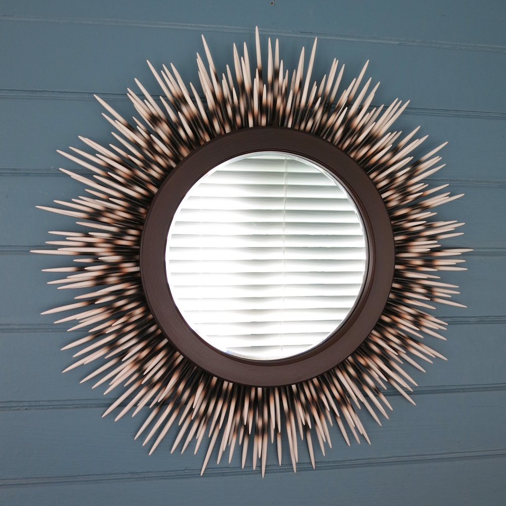 "21"" ivory-tip porcupine quill mirror with minimal style espresso brown frame"