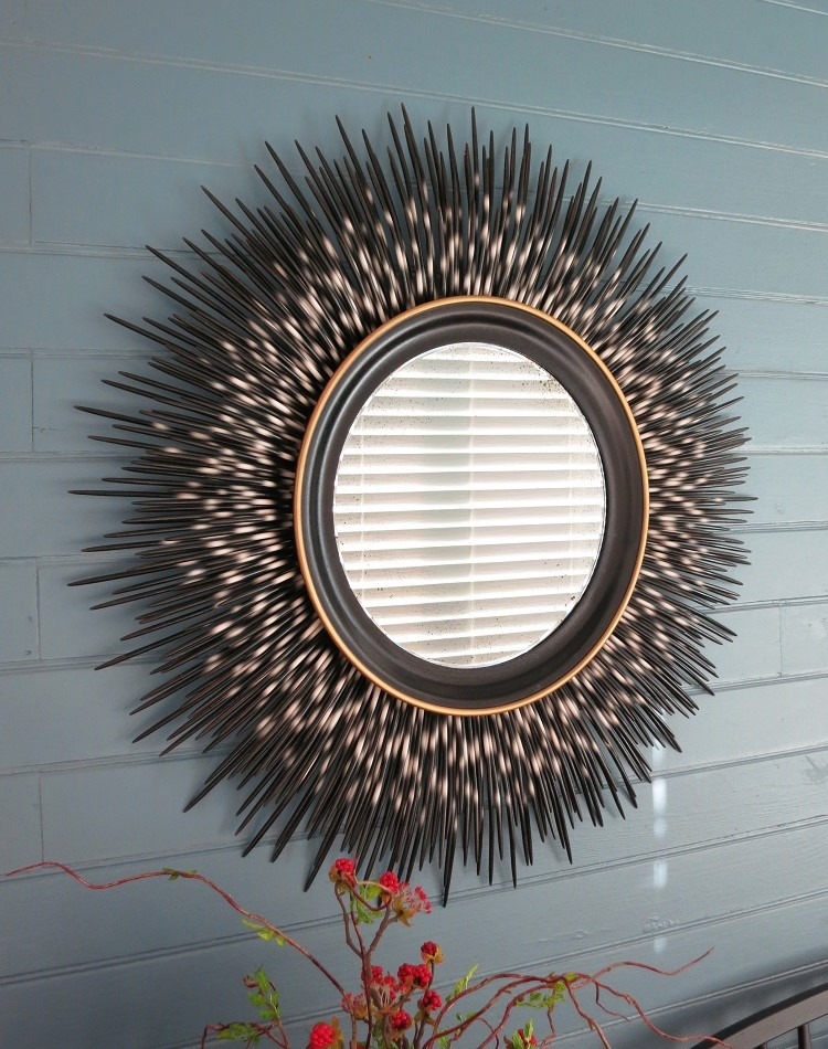 "32"" black-tip porcupine quill mirror"