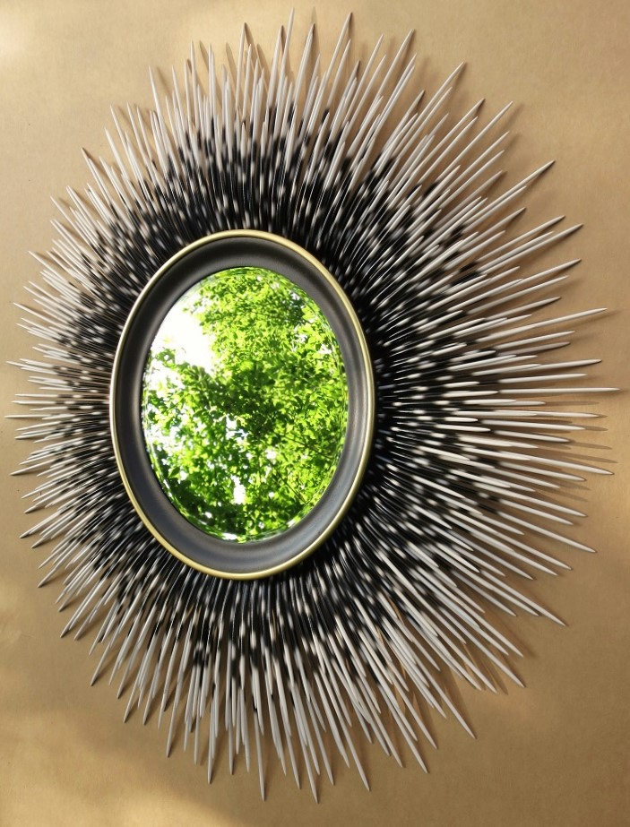 "42"" white-tip porcupine quill mirror with espresso brown frame and gold accent border"