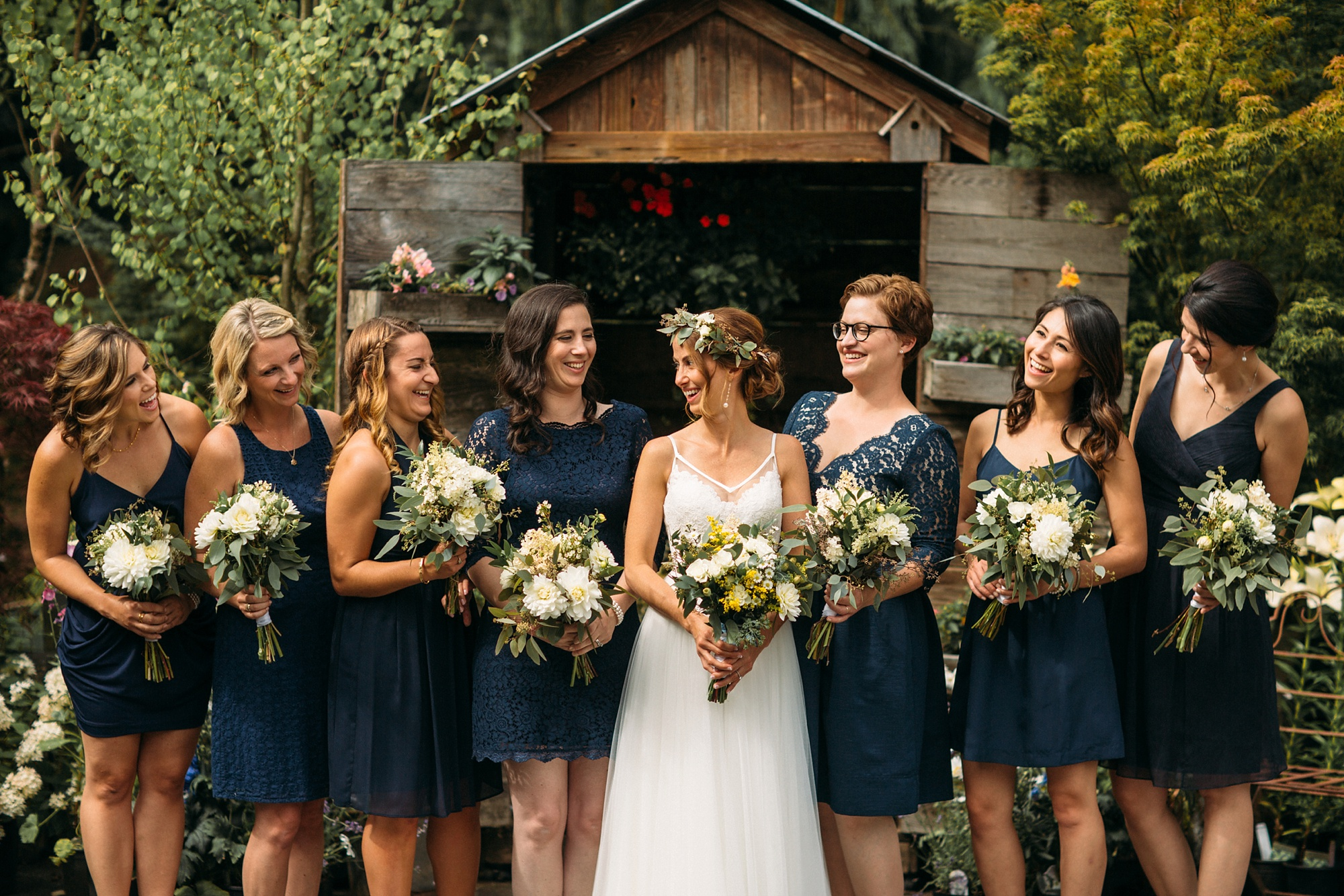 The Bride - and her bridesmaids surrounded by the beauty of our gardens...