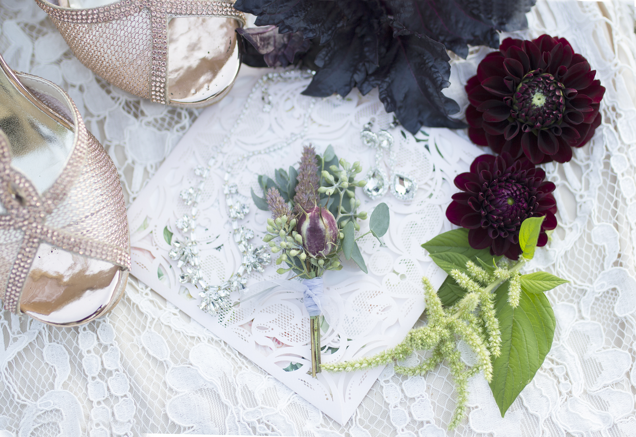 Beautiful bridal details! Moody colors accented by eucalyptus and bright green amaranthus from the garden