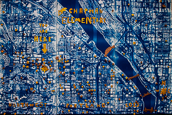 """""""You Were Here"""" 2015   Chapman Elementary School graduating class of 2015 in collaboration with Anna Hoye, Alison Hardin  Mixed Media: Cyanotype, Found Objects, Muslin, porcelain, and pure gold and copper pigment"""