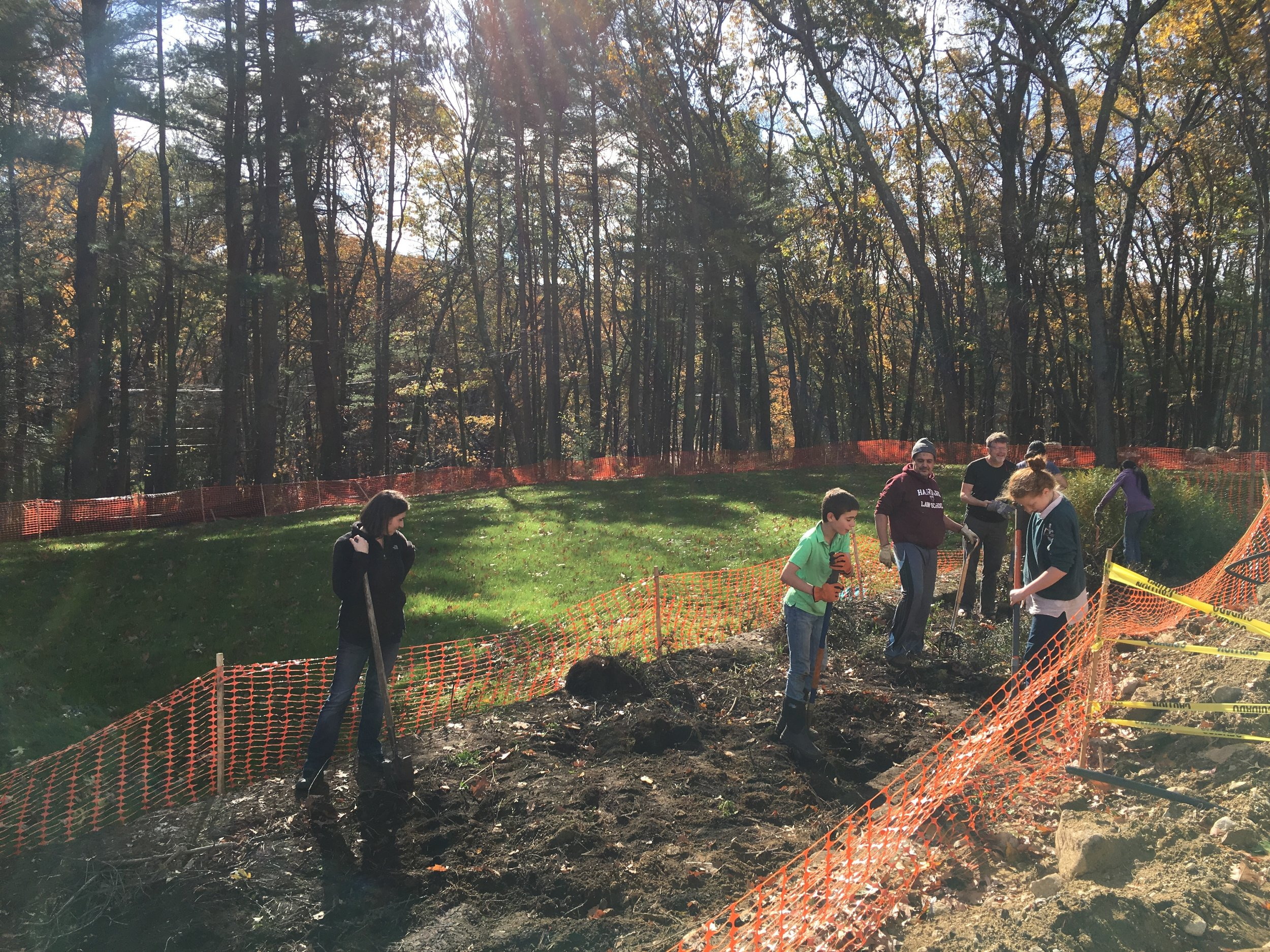 Last Saturday, parents, students, and teachers gathered to clear woods and clean out beds at our new property at 100 Bedford Road. We will plant a pollinator garden in this bed next spring.