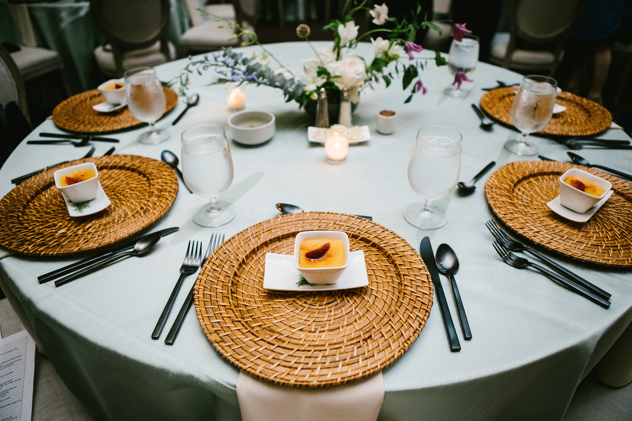 table settings and amuse bouche by Rosemary's Catering for corporate event in downtown Austin, TX