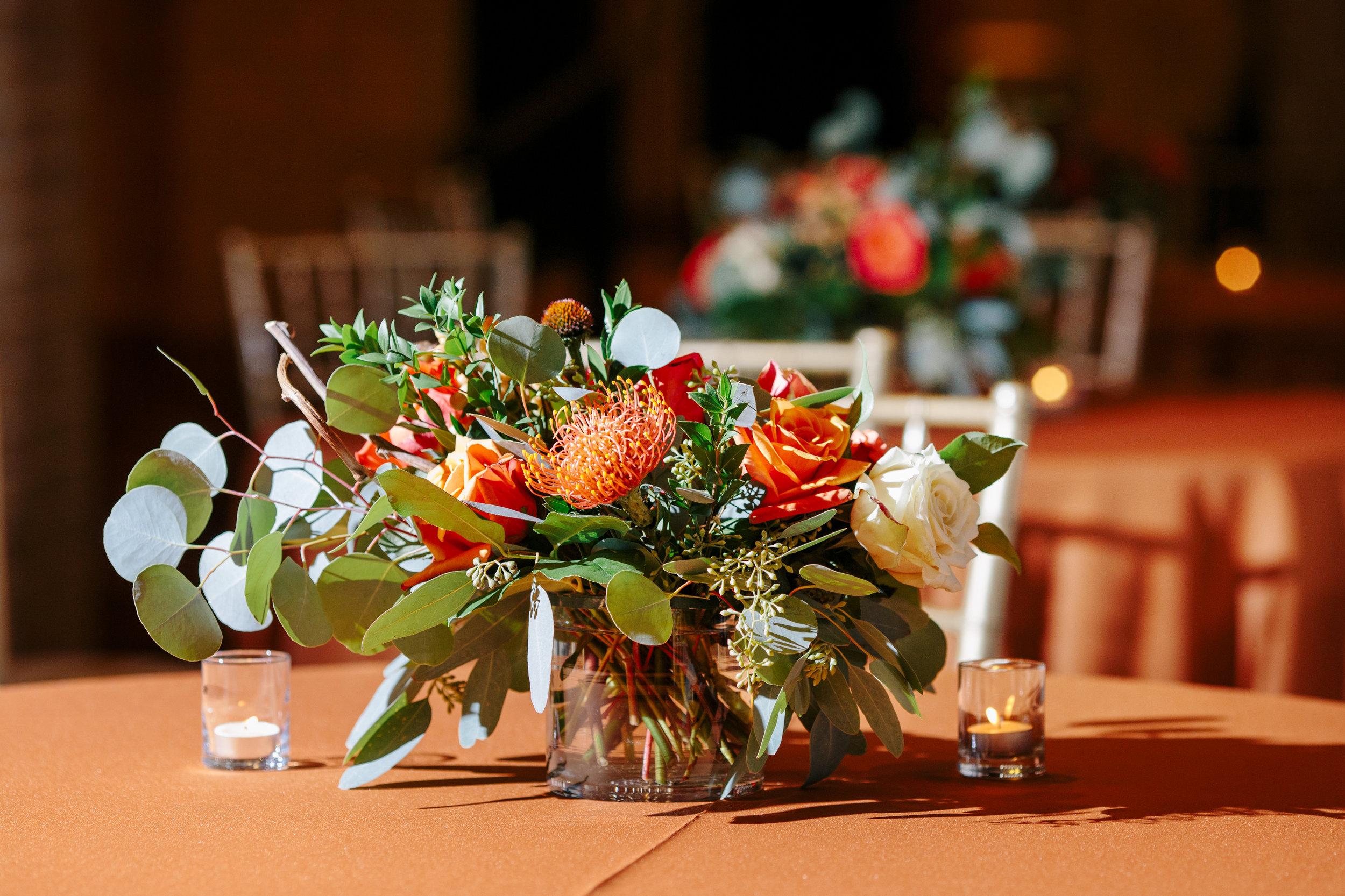 floral centerpieces for UT longhorns alumni dinner