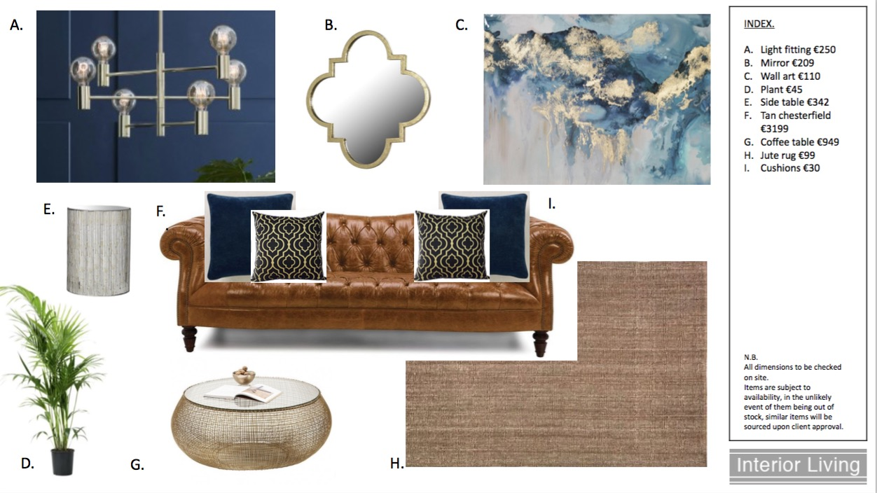 Navy and gold scheme moodboard