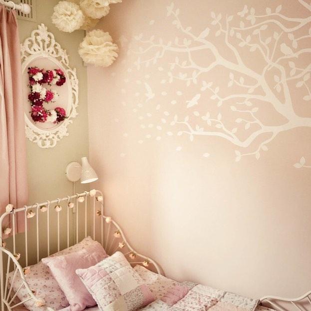 Loved designing this little girl's soft pastel pink & green bedroom...
