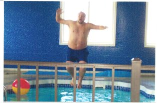 Josh testing out the pool in the new store