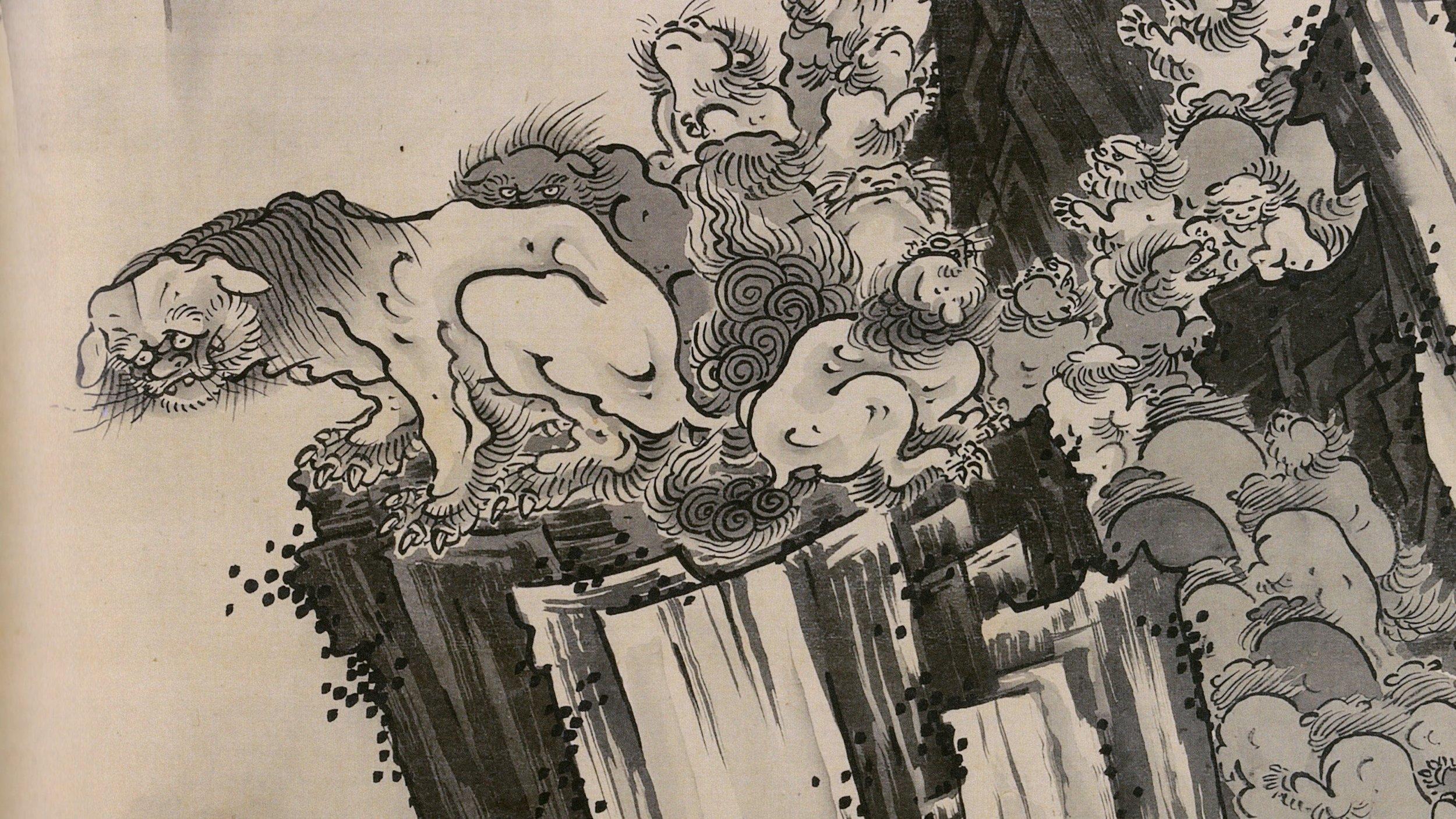 Lions at the Stone Bridge of Mount Tiantai   Metropolitan Museum of Art
