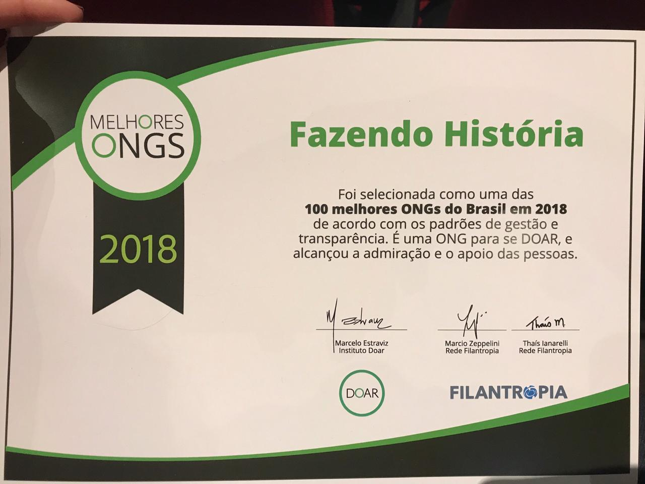 IFH está entre as melhores ONGs de 2018