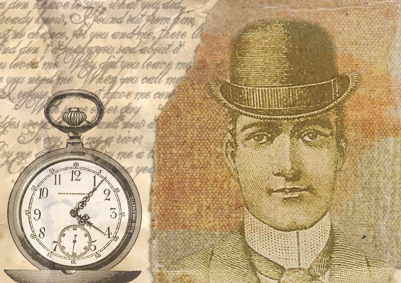 Illustration of pocket watch and Victorian man. Image courtesy Pixabay.