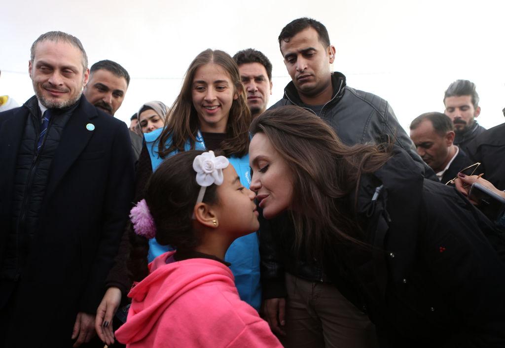 Angelina Jolie at Za'atari refugee camp CREDIT: Getty