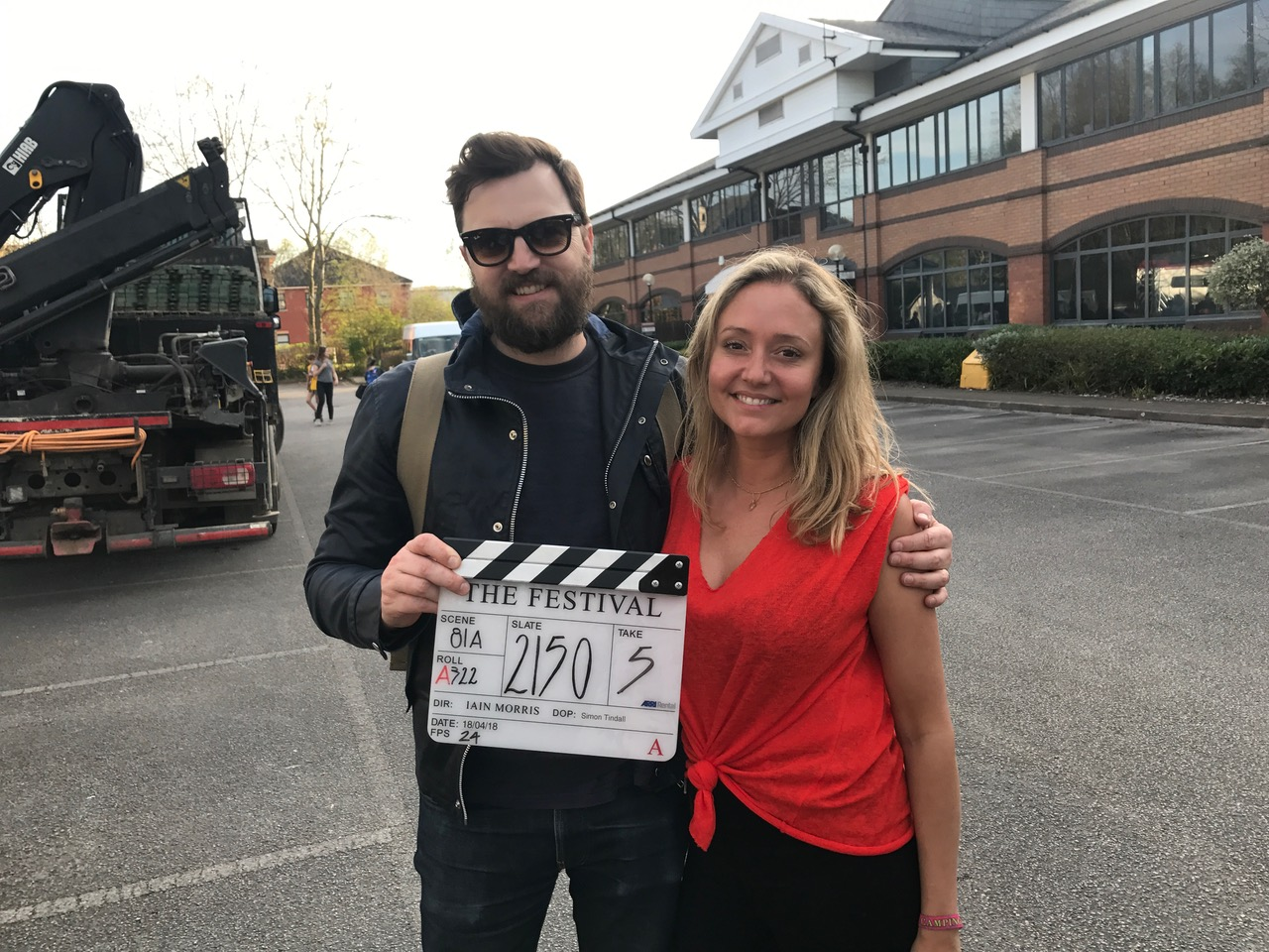 Claire Jones and Iain Morris on the set of 'The Festival.' CREDIT: Entertainment Films