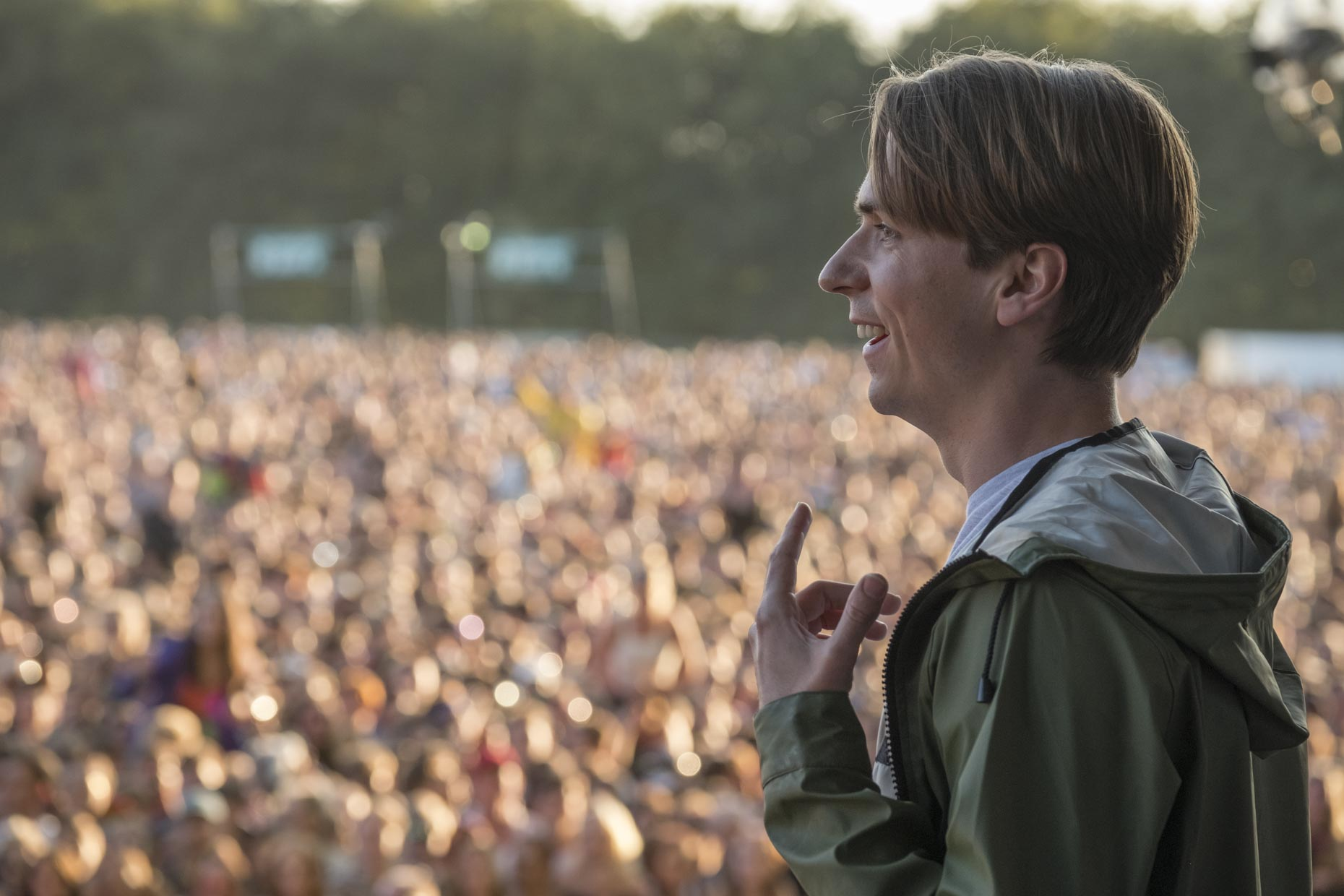 Joe Thomas on stage for 'The Festival', out August 14 CREDIT: Nick Wall/Entertainment Films