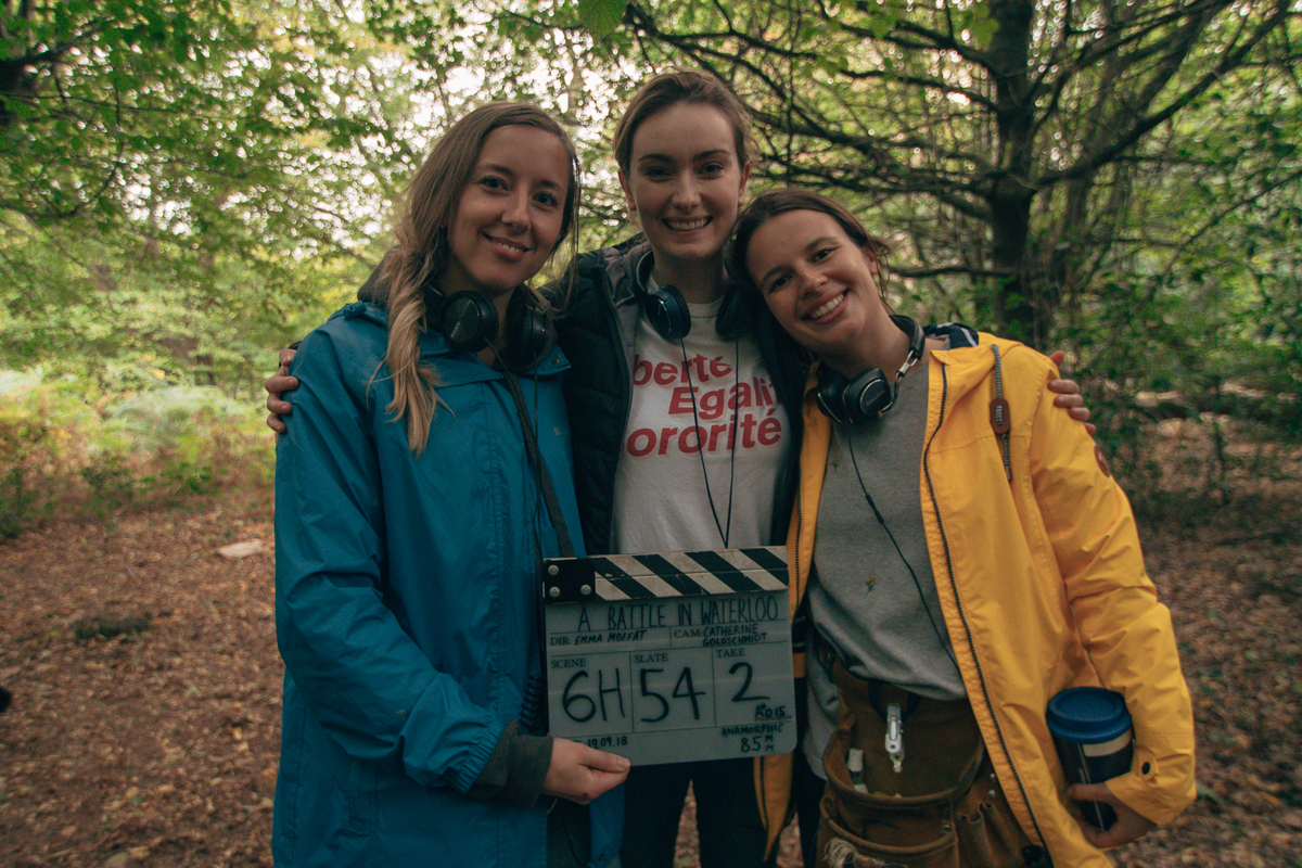 """Tilly Coulson, Emma Moffat, Anna Hargreaves on set at 'A Battle in Waterloo.' CREDIT"""" Bumble/Female Film Force"""