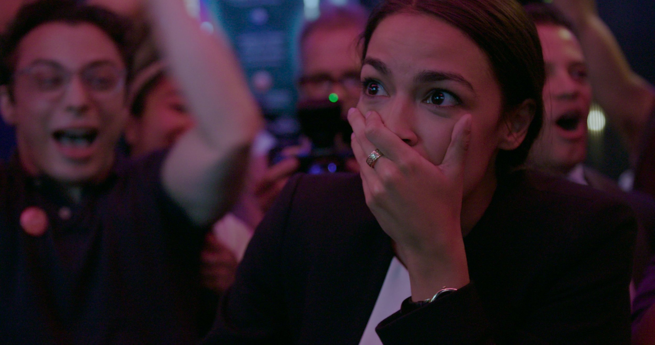 AOC finds out she's won her Primary. CREDIT: Netflix