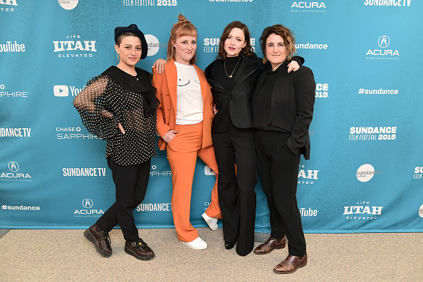Emma Jane Unsworth ( second from left) and Sophie Hyde ( right) launch 'Animals' CREDIT: Getty Images