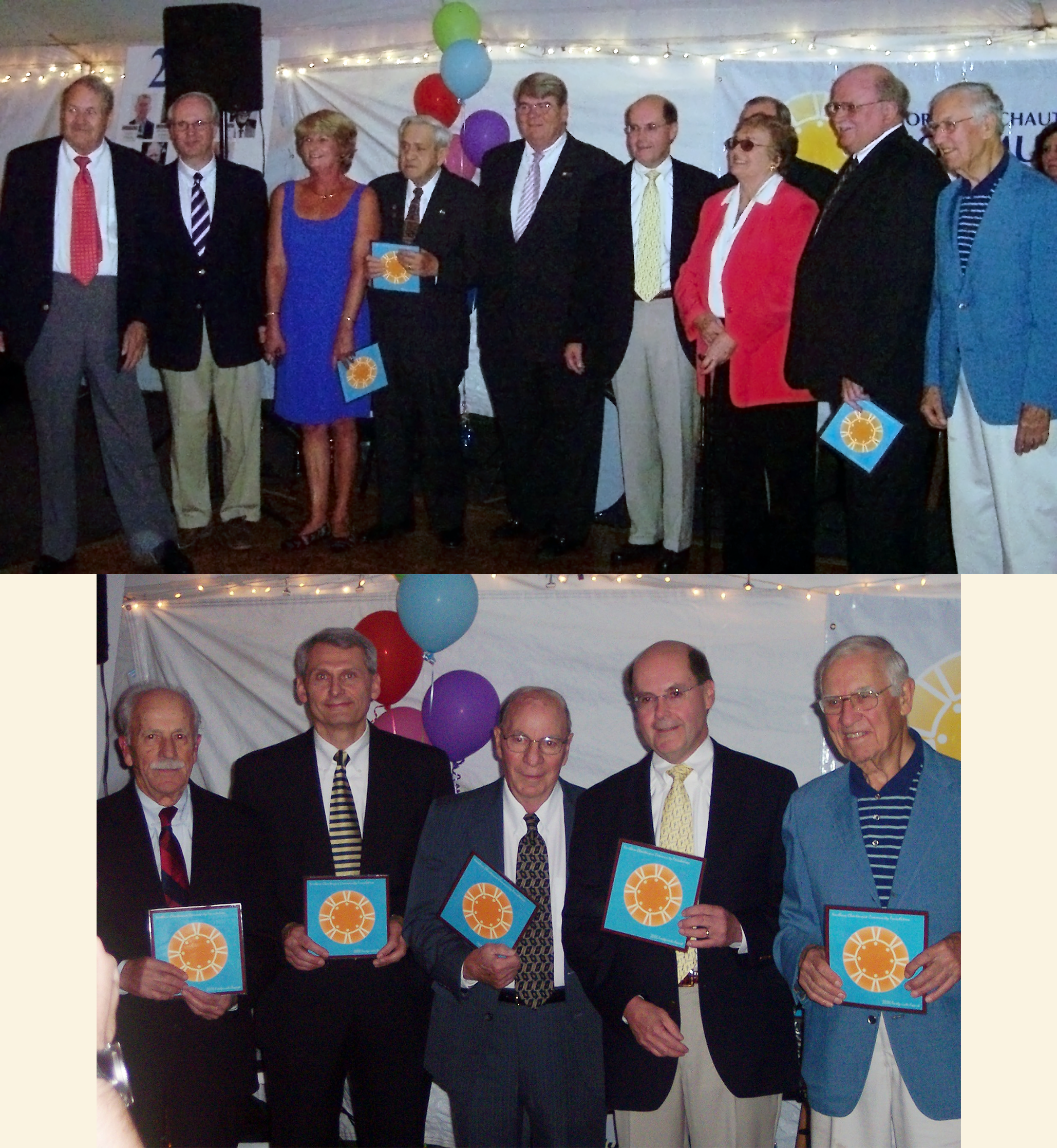 2006 - NCCF's 1st BOD & Incorporators - NCCF First Elected Board of Directors (Top Photo, left to right): Perry Regina, Jeffery Passafaro (representing the late H.K. Williams II), Virginia Passafaro (representing John D. Koch), Richard S. Johnson, James H. Mintum Jr., Janet Wells (representing the late William M. Wells), Douglas Newman, George B. Weaver. Missing from photo: Rocco L. Doino, Andrew W. Dorn, Ann Manly and Donald MacPhee.NCCF Incorporators (Bottom Photo, left to right): David J. Doino, Louis P. DiPalma, Rocco R. Doino, Richard S. Johnson, George B. Weaver. Missing from photo: Andrew W. Dorn.