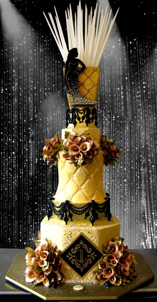 21. JLO 40th Birthday, JLO birthday cake, diamond curtain background, silhoutte on cake, gold wedding cake, gold tufted cake, sylvia weinstock.jpg