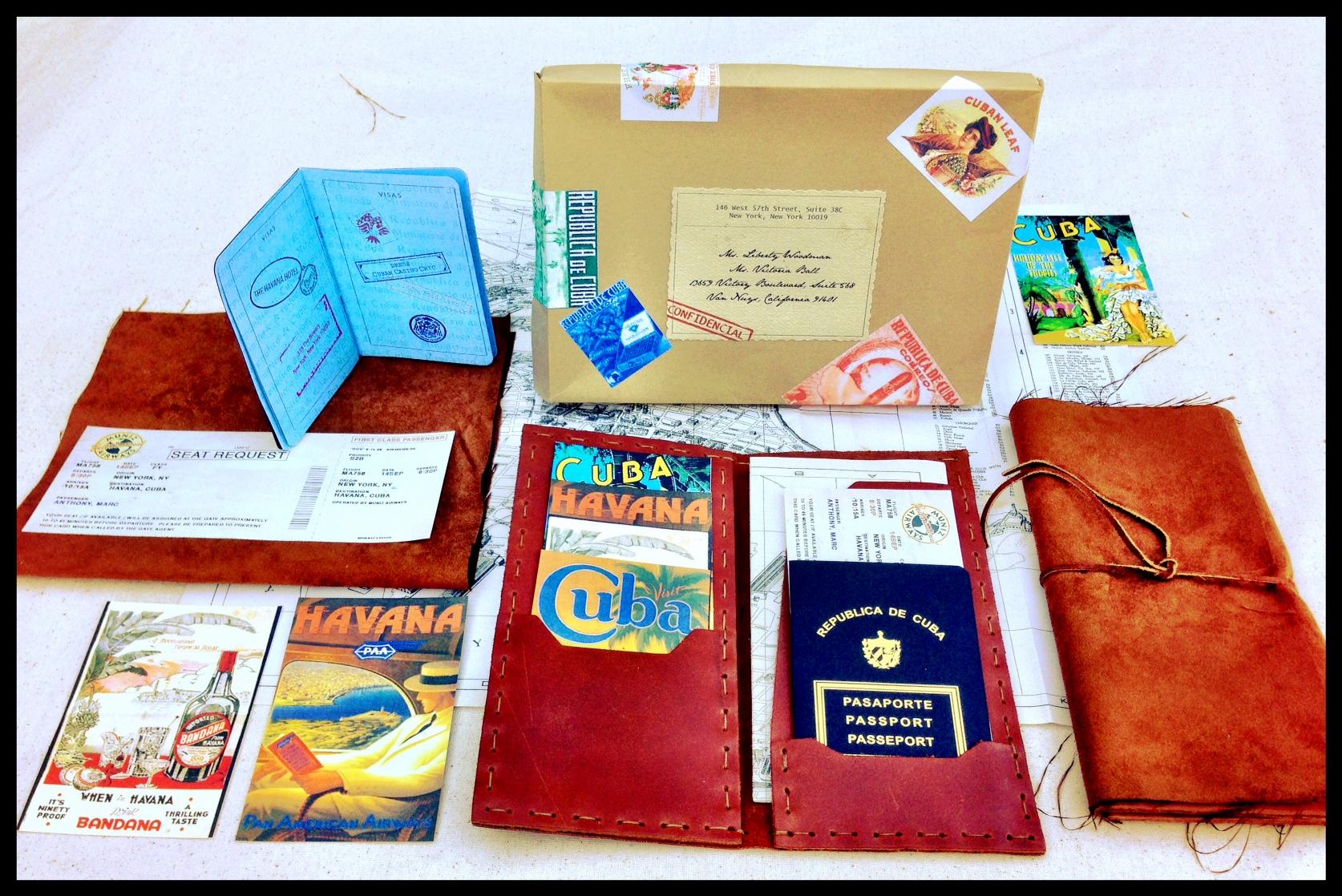 004.Marc Anthony borthday, Havana nights, custom inviations, passport invitations, plane ticket invitation, custom leather travel wallet.JPG