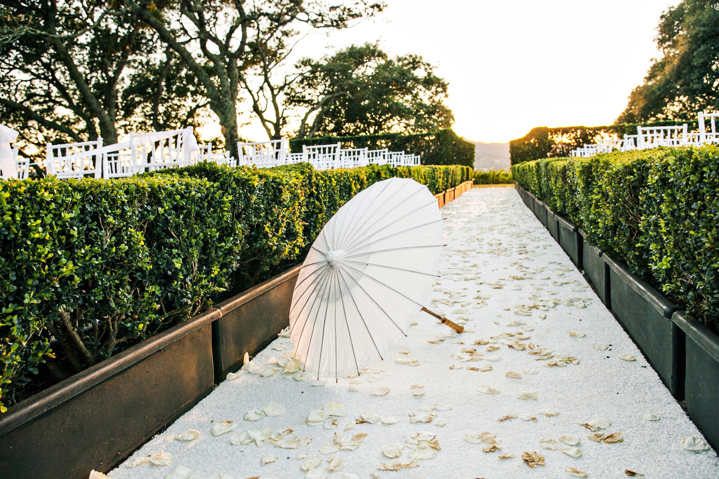 06. rose petal asile, napa wedding, vineyard ceremony, wedding parasols.jpg