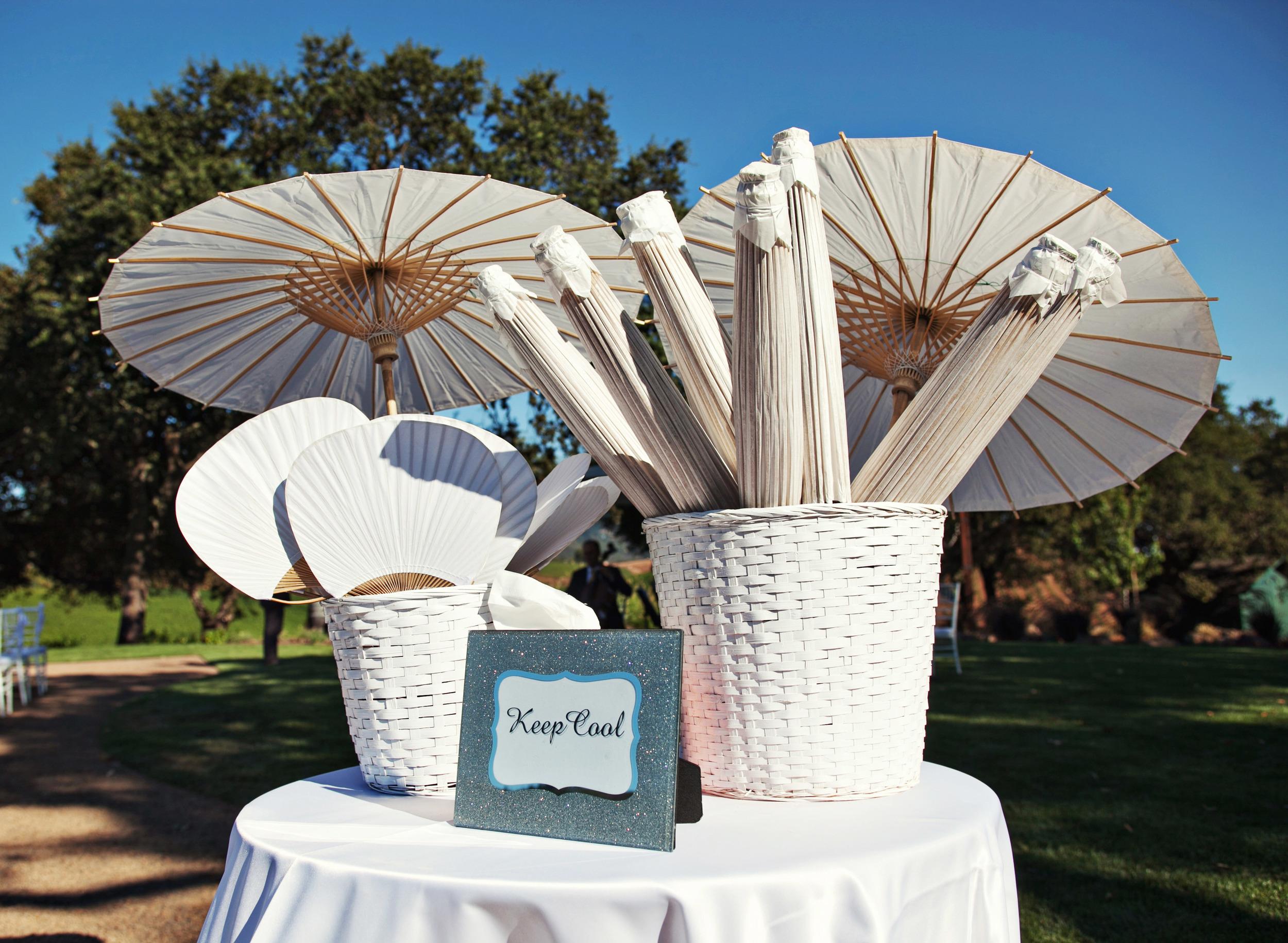 16. Wedding parasols, wedding fans, vineyard ceremony, white wedding ideas, napa wedding.jpg