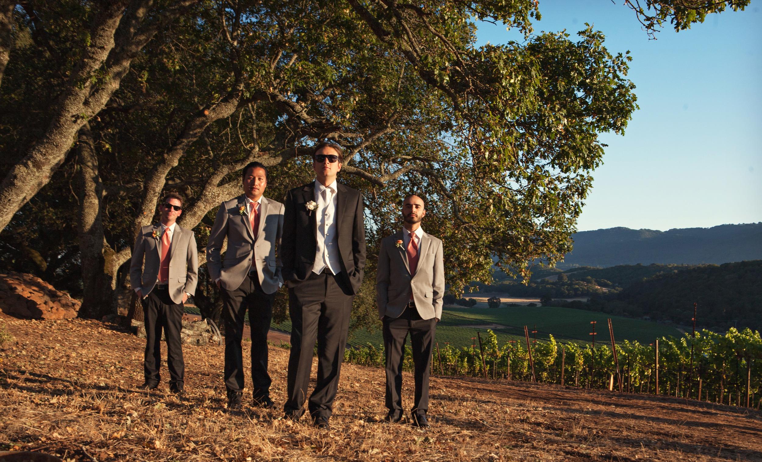 24. vineyard ceremony, groomsmen shot, napa wedding, summer wedding, rustic wedding.jpg