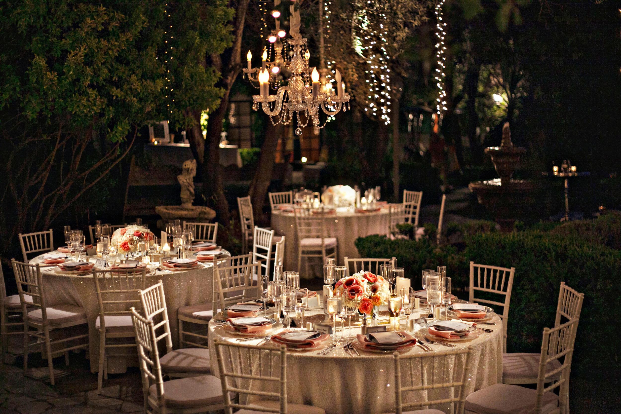 25. Summer wedding, wedding chandaliers, hanging fairly lights, sequin tablecloths, sparkle wedding, peach & coral wedding.jpg