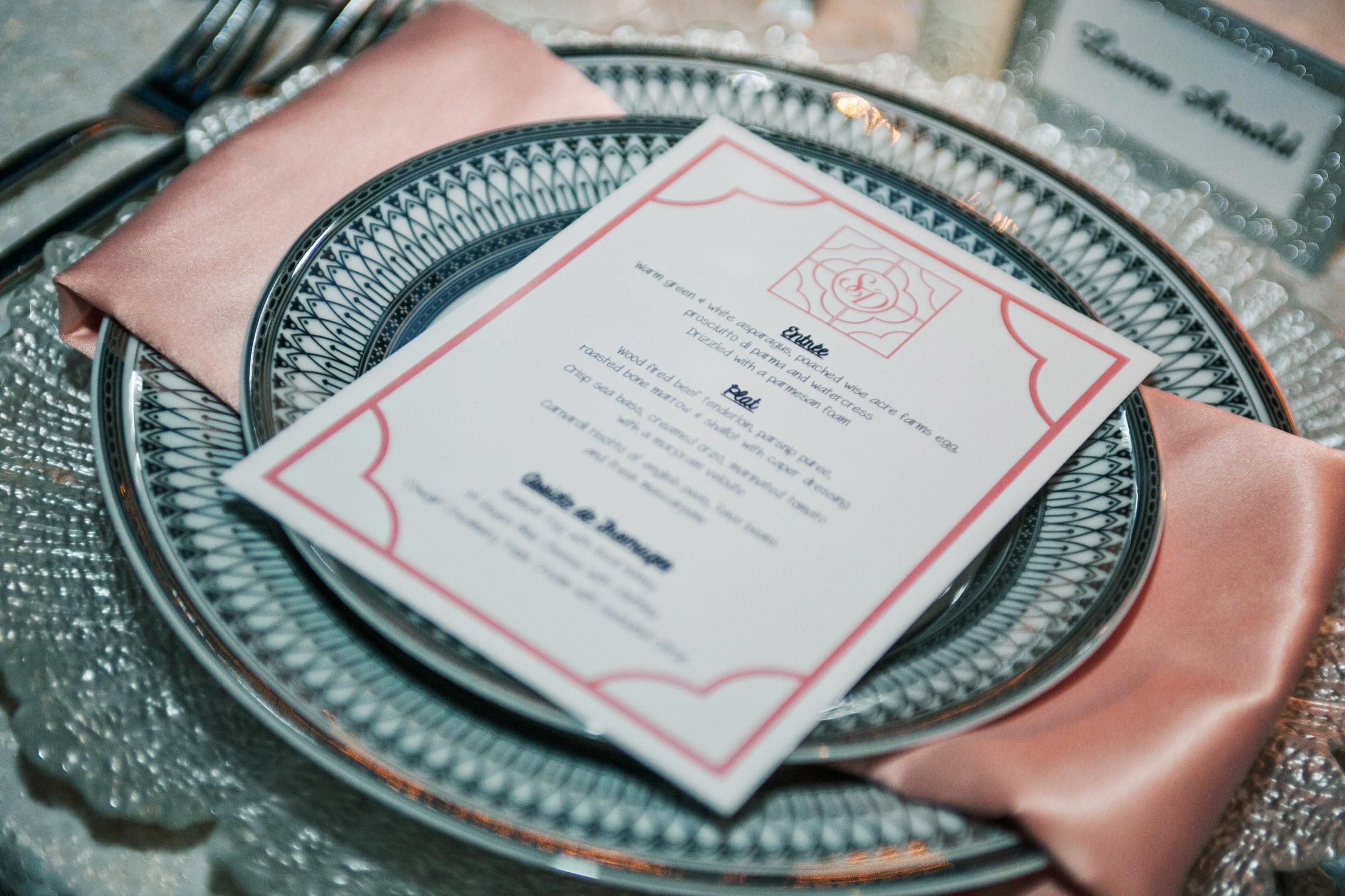 28. white sequin wedding, silver&peach wedding, glitter placecards, glitter chargers, summer wedding table design, printed wedding menus.jpg