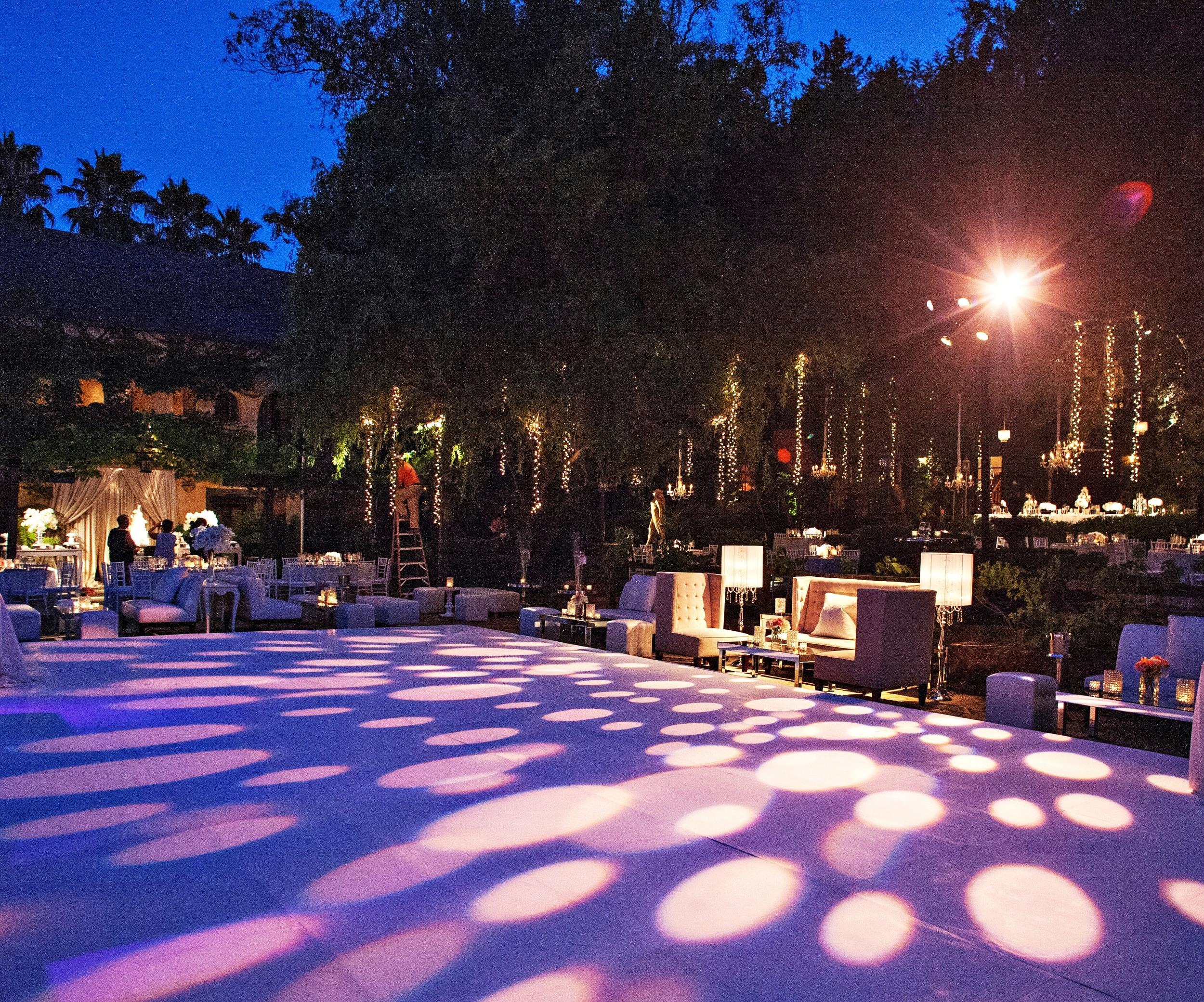 29. dance floor over pool, hanging fairly lights, summer wedding, wedding lighting, dance floor patterns, modern wedding lounges.jpg