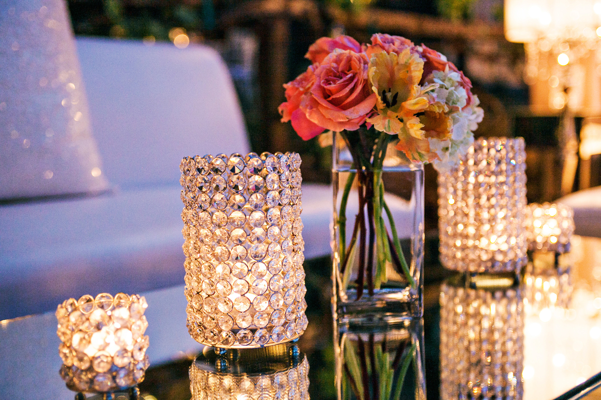 30. crystal votives, mirroed coffeetables, modern romantic wedding setting, peach & coral wedding, sequin pillows,.jpg