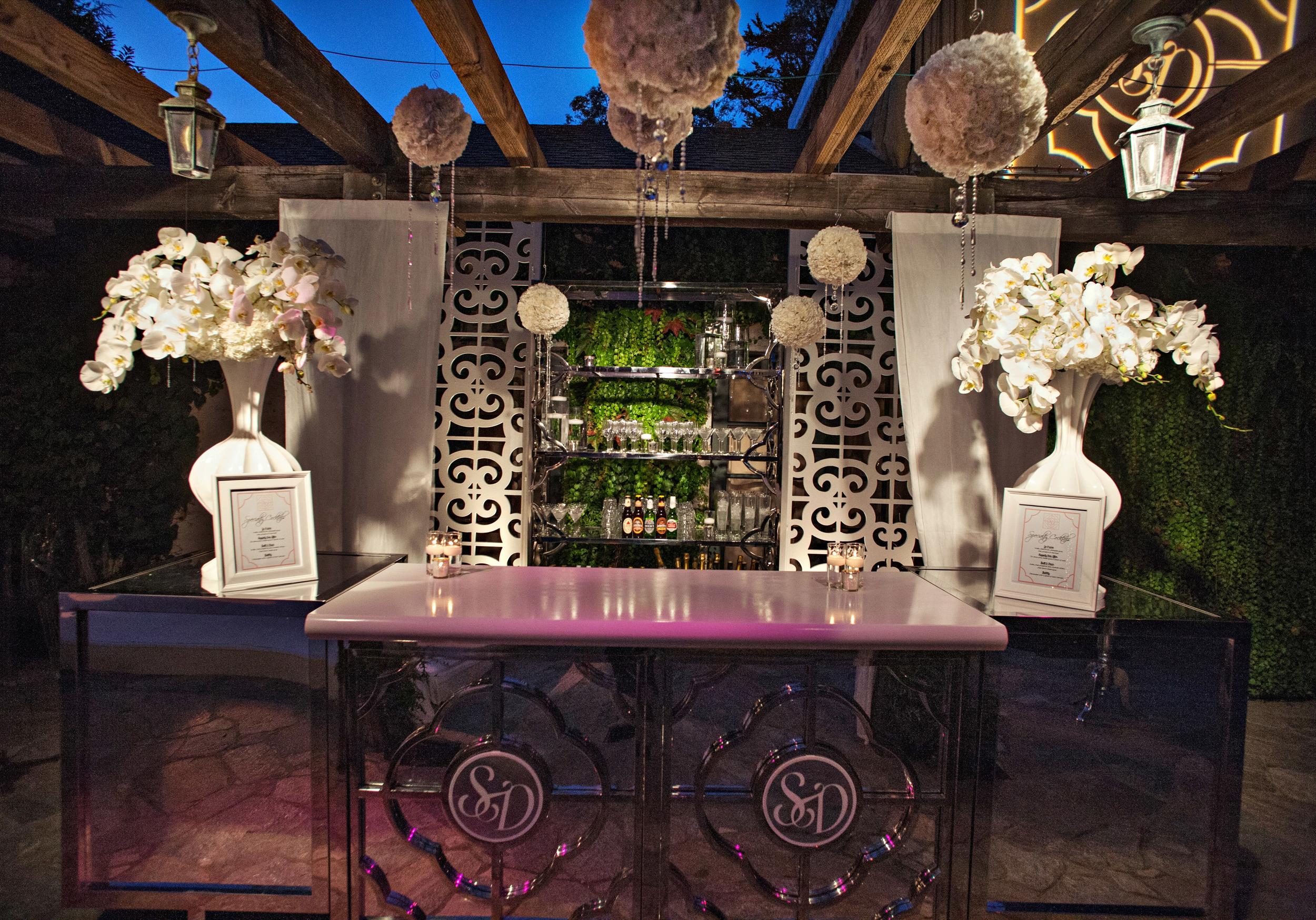 35. modern wedding bar, white wedding orchids, custom monogram, hanging pomeanders, hanging crystals, modern romantic wedding, summer wedding.jpg