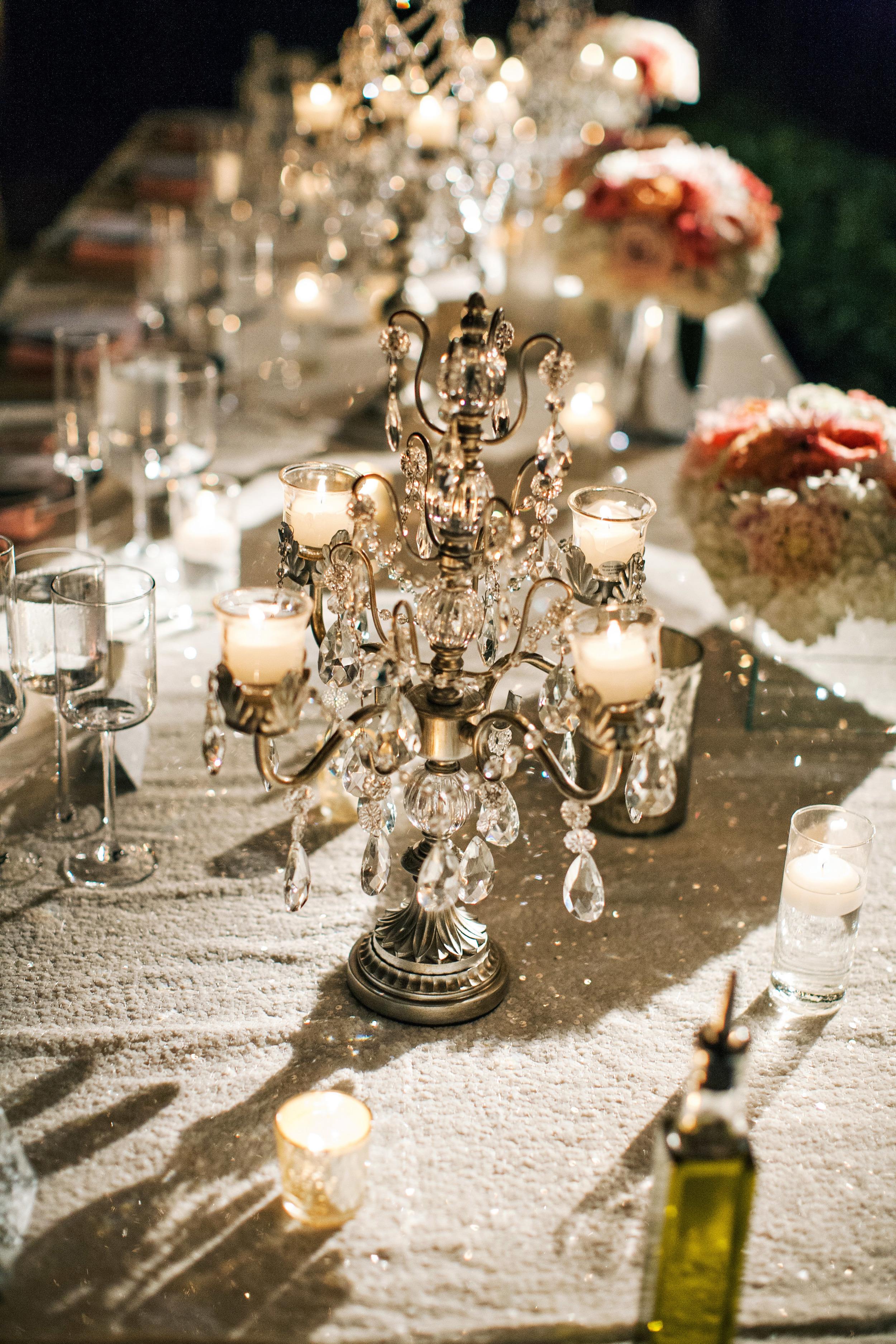 39. RS - sequin wedding, sparkle wedding, wedding head table, summer wedding, peach + coral wedding, wedding chandaliers, sparkle.jpg