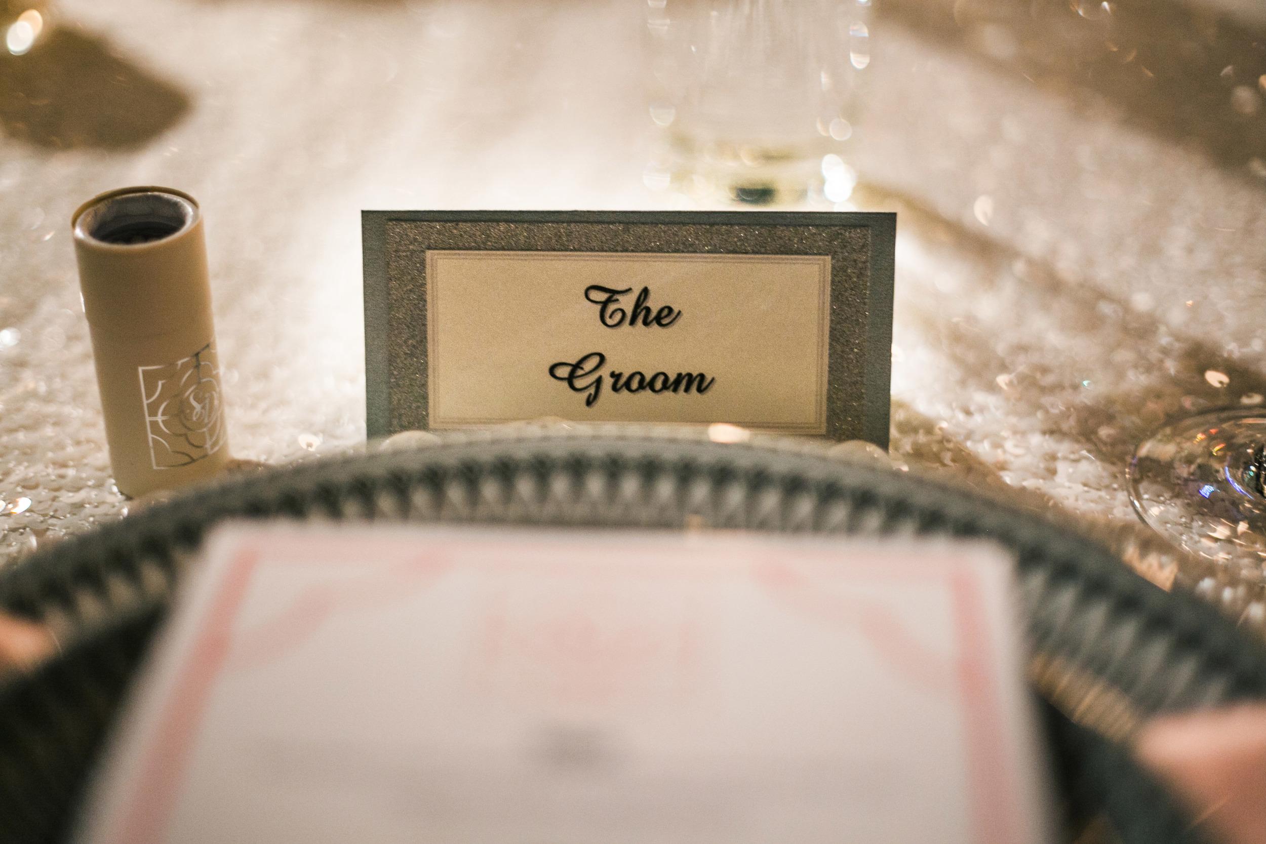 42.  sparkle wedding, sparkle place cards, sequin wedding, goregous place cards, white + silver wedding, monogram matches, wedding matches.jpg